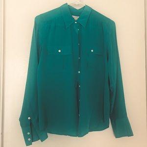 J. Crew 100% silk emerald green button up blouse